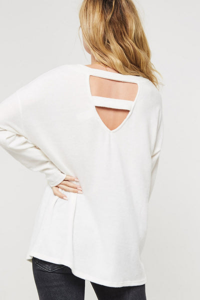 Brushed Knit Top with Ladder Cutout Detail