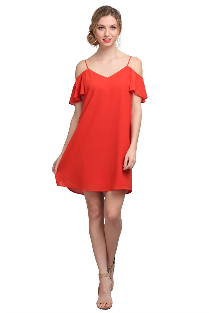 Cold Shoulder Tulip Sleeve Dress