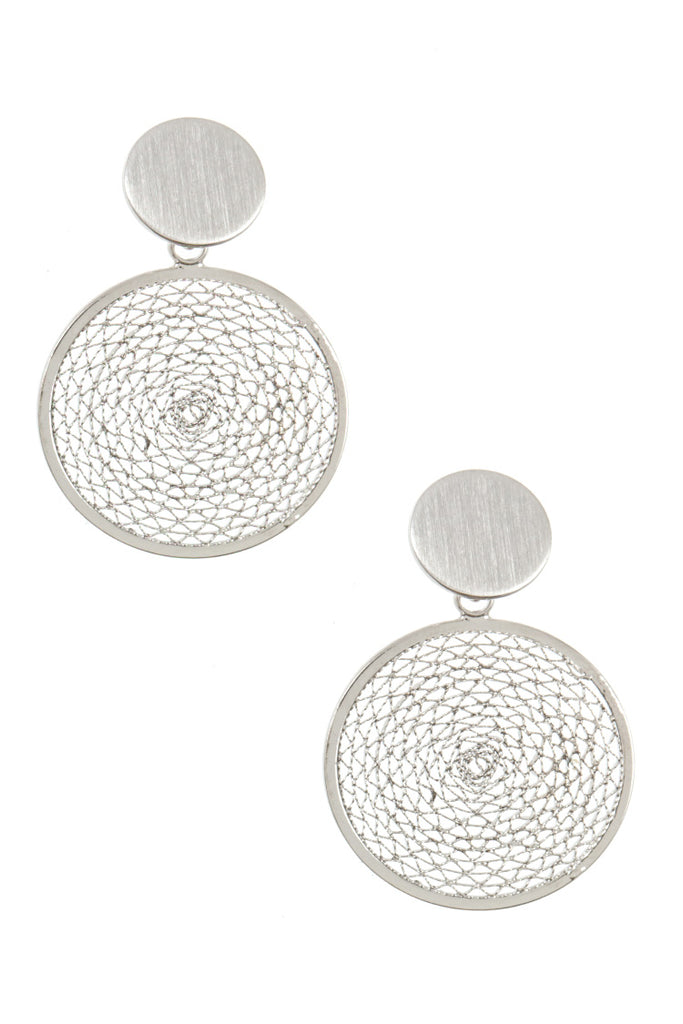 Double Round Link Mesh Earrings