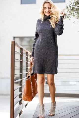 Ribbed Turtle Neck Dress with Zippered Sleeves