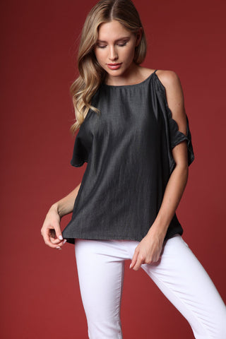 Scalloped Edge Cold Shoulder Top