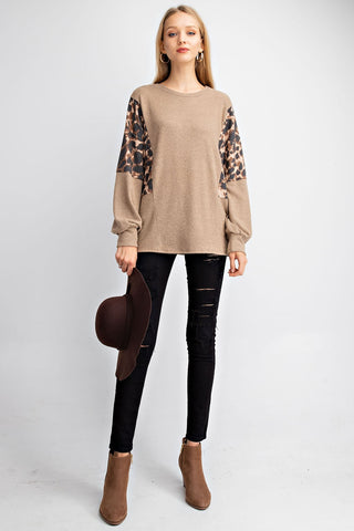 Leopard Print Top with Contrast Bubble Sleeve