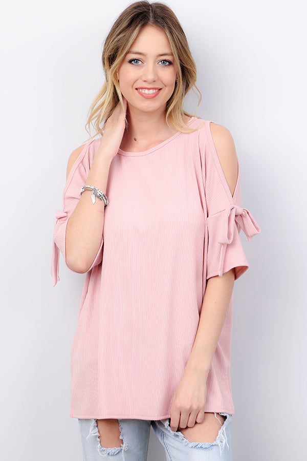 Cold Shoulder Top with Tie Sleeves