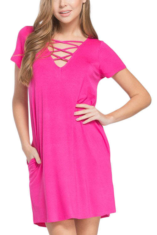 Dress with Crisscross Strap Detail