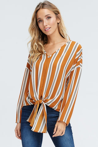 Striped Woven Top with Self Tie
