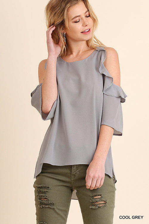 Cold Shoulder with Ruffle Detail Top