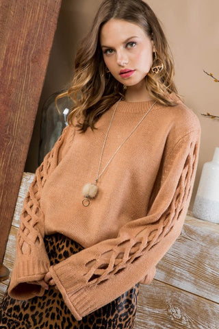 Criss Cross Sleeve Sweater