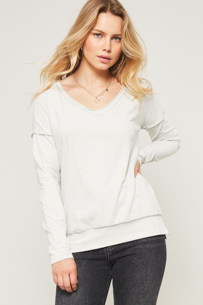 V Neck Sweatshirt with Stitch Detail