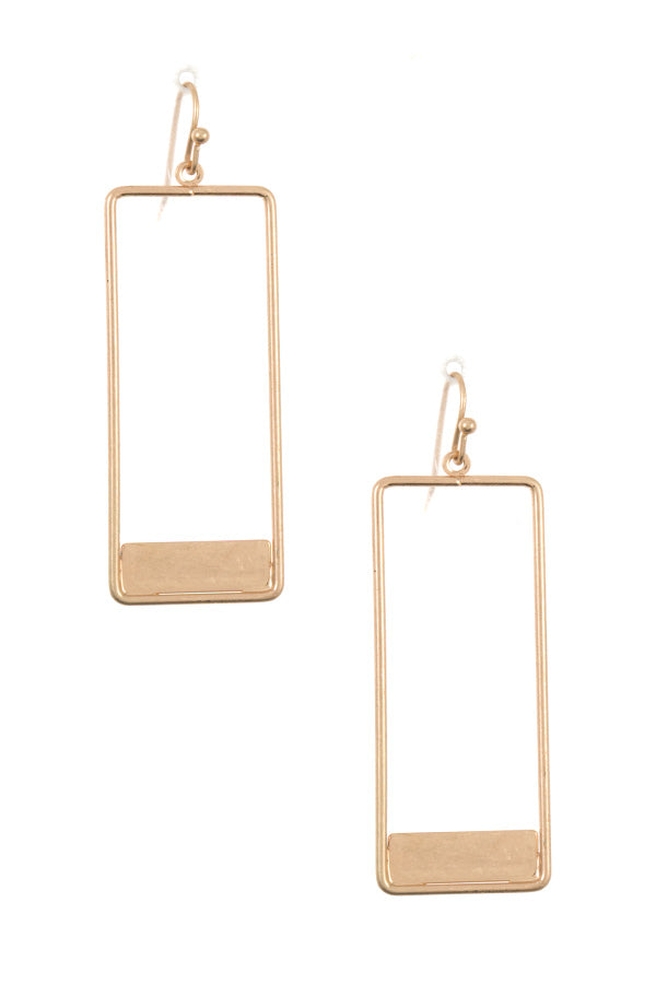 Rectangular Cut Out Dangle Earrings