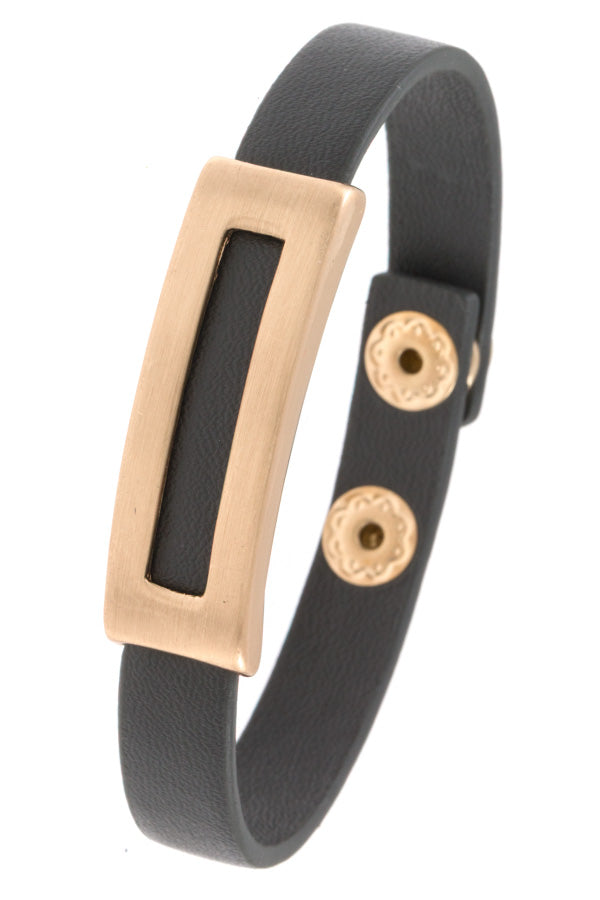 Metal Accent Faux Leather Bracelet