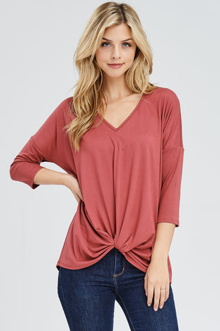 Knit Top with Front Gather Twist
