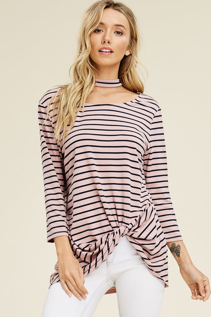 Striped Knit Top with Choker Detail
