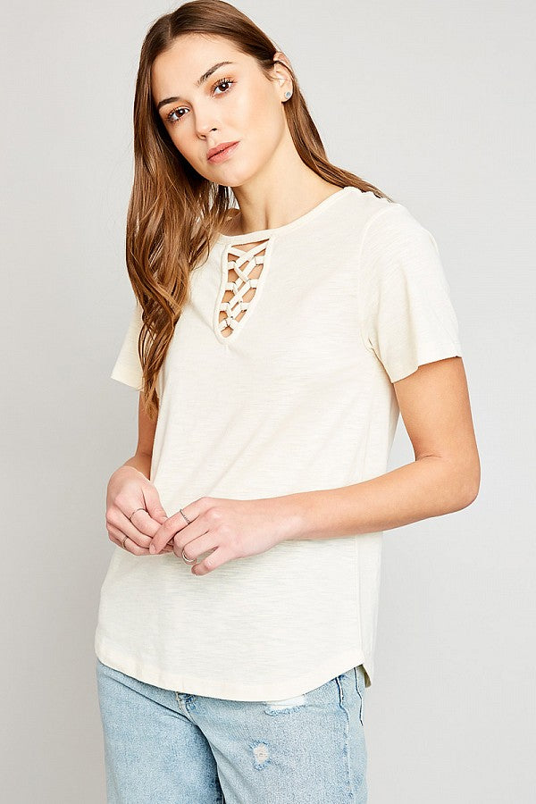 Cut-Out Cage Tee Shirt Top