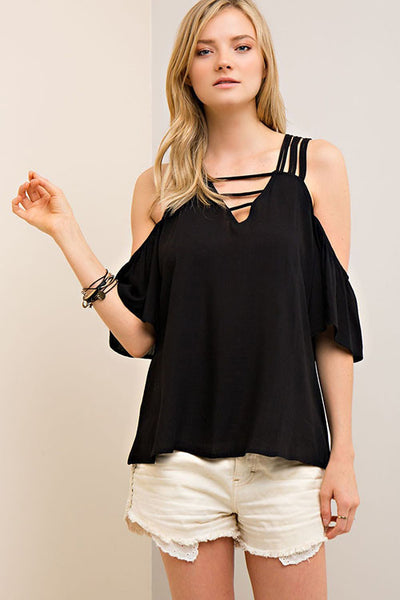 Cold Shoulder Top with Strappy Detail