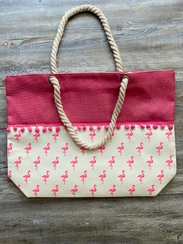Flamingo Bag with Pink Tassels