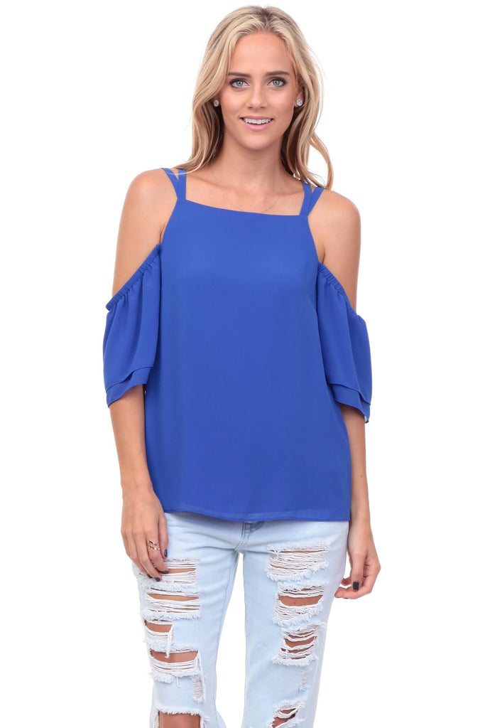Cold Shoulder Top with Crisscross Back