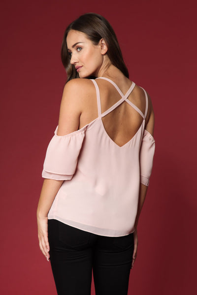 Cold Shoulder Top with Crisscross Detail