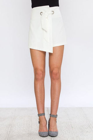 Asymmetrical Wrap Skort with Grommet and Front Tie Detail