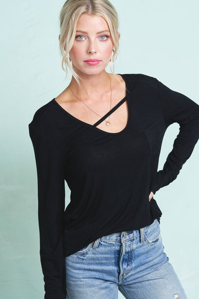 V Neck Top with Asymmetrical Front Strap Detail