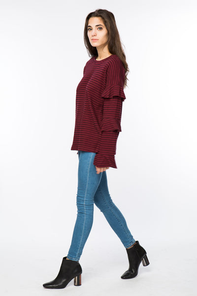 Striped Top with Ruffle Detail on Sleeves