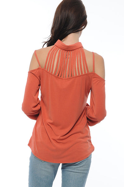 Caged Open Shoulder Blouse