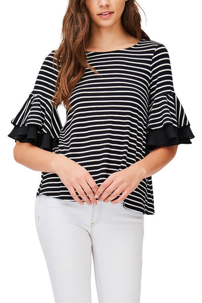 Stripe Top with Double Ruffle Sleeve