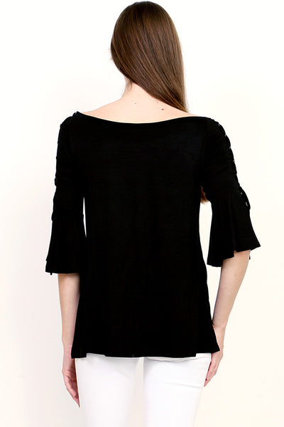 Ruffle 3/4 Sleeve with Side Lace Top