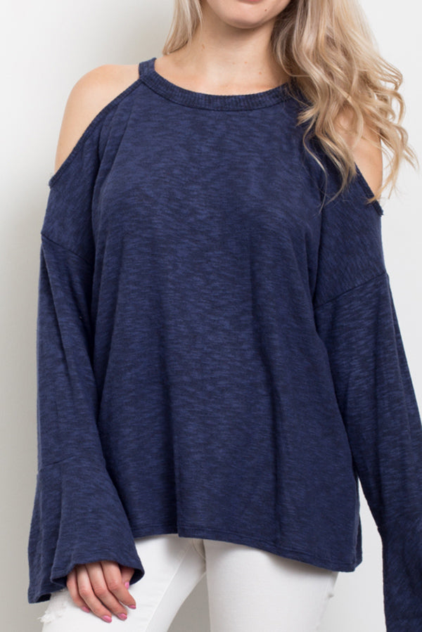 Bell Sleeve Open Shoulder Top