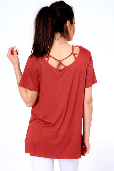 Strappy  Neck Detail Top