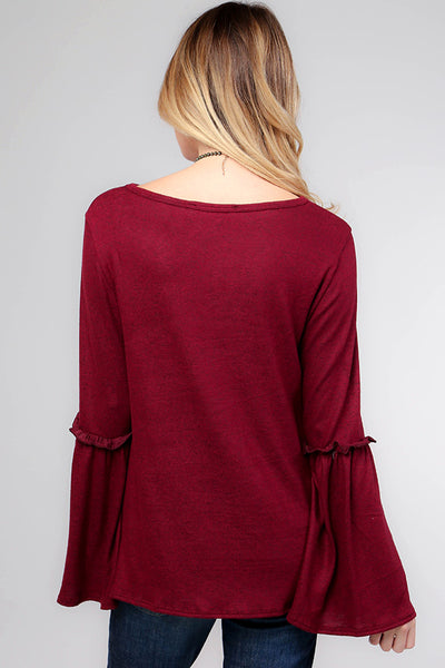 Bell Sleeve Top with Ruffle Accent