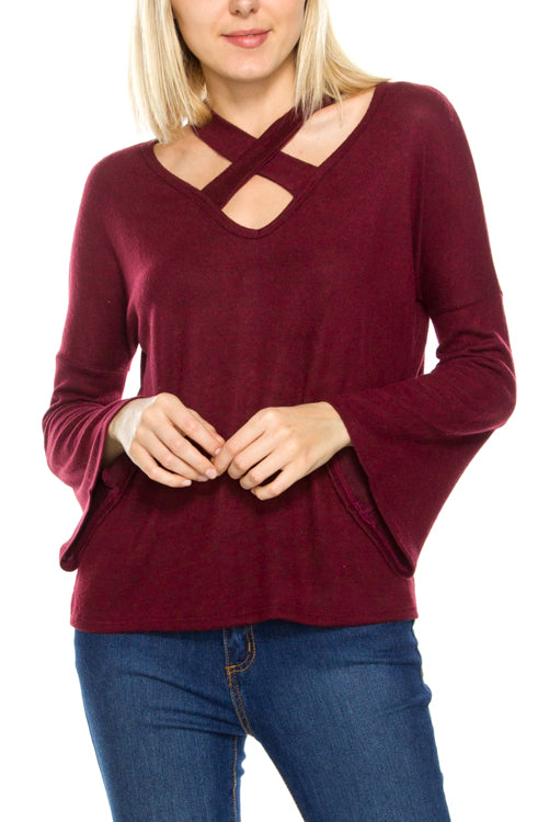 Crisscross Long Sleeve Top