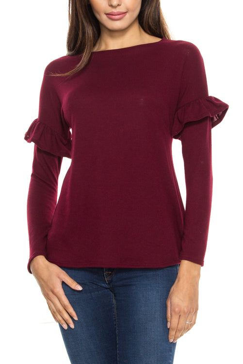 Brushed Knit Ruffle Detail Sleeve Top