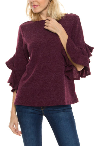 3/4 Ruffle Sleeve Top