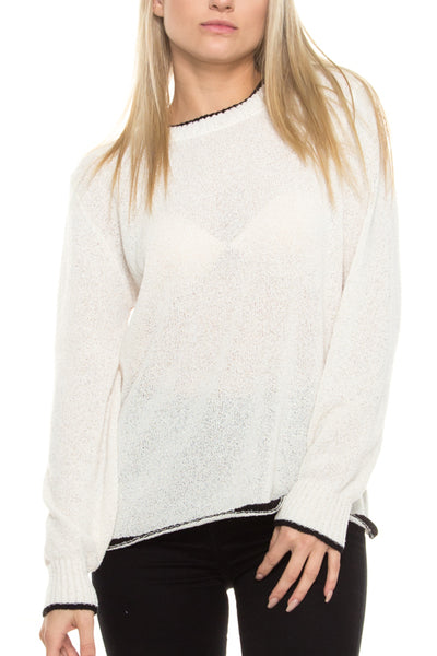 Cream Sweater with Black Piping