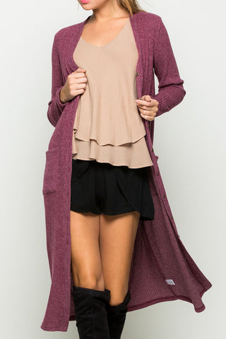 Ribbed Button Down Maxi Cardigan