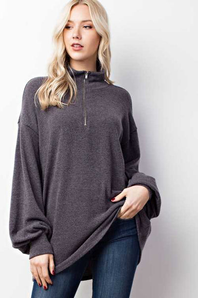 Zipper Front Sweatshirt Top