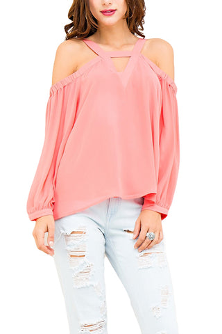 Cold Shoulder Top with Strap Detail
