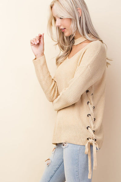 Choker V Neck Lace Up Sweater