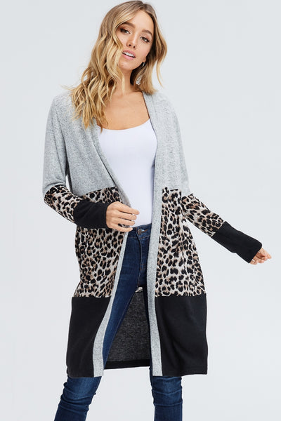 Color Block Cardigan with Cheetah Print