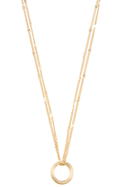 Dainty Circle Double Chain Pendant Necklace