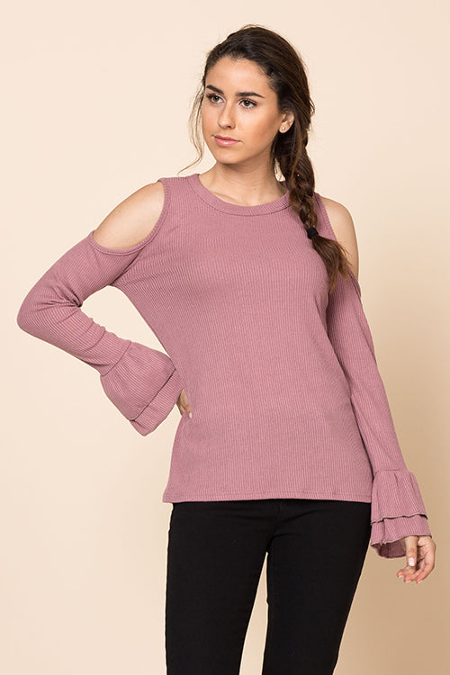 Long Sleeve Double Ruffle Cold Shoulder Top