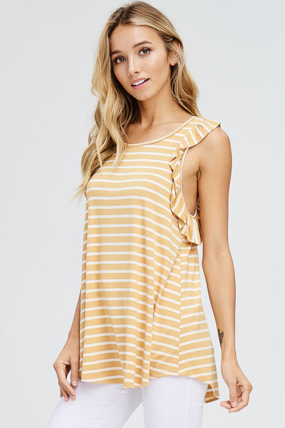 Ruffle Trim Striped Racerback Top