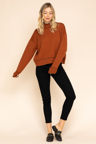 Mock Neck Sweater with Piping