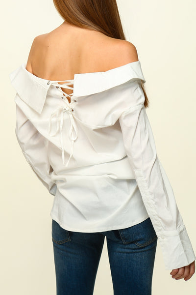 Off the Shoulder Button Down Shirt