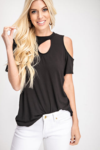 Asymmetrical Cold Shoulder Cut Out Detail Top