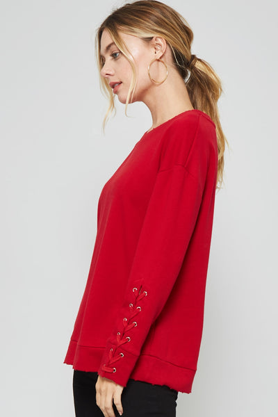 Lace Up Sweatshirt with Grommets