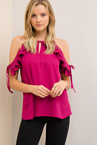 Open Shoulder Top with Ruffled Sleeves