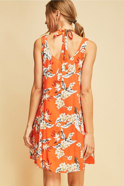 Floral Print with Halter Neckline Dress