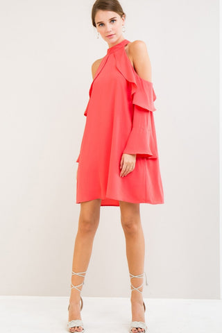 Open Shoulder Dress with Ruffle Detail
