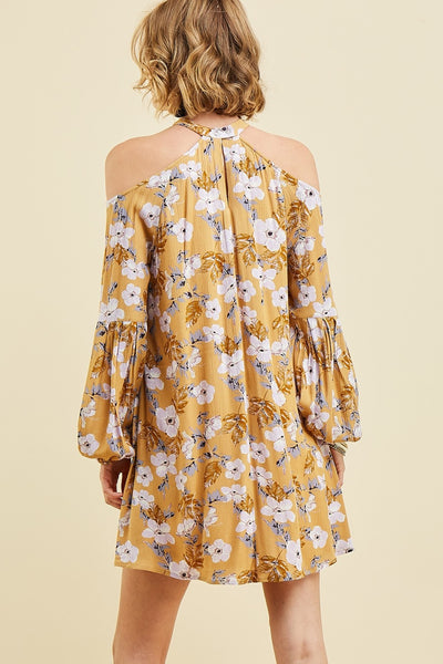 Floral Print Cold Shoulder Dress Featuring Halter Neckline and Puff Sleeve